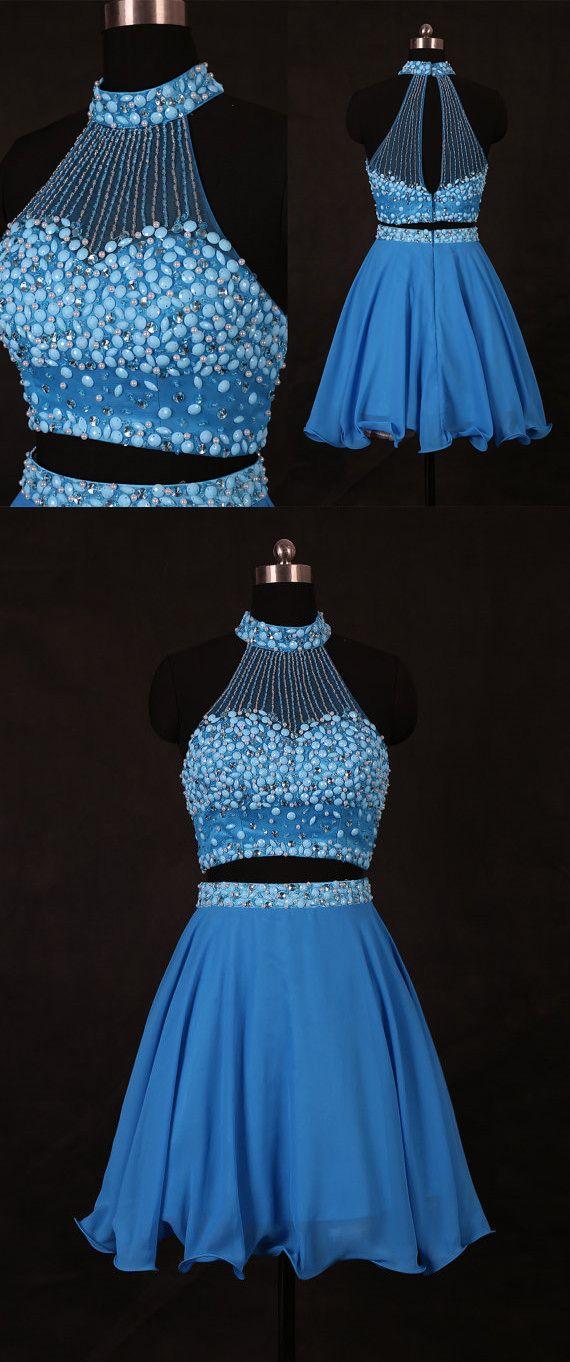 royal blue homecoming dress, 2017 short homecoming dress, beads party dress, two piece homecoming dress