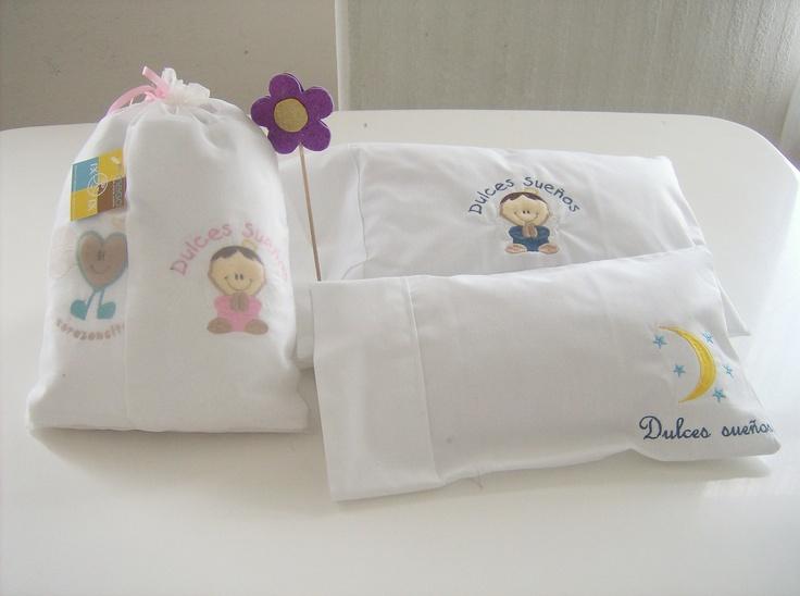 Funda bordada y almohada para bebe hogar pinterest bebe - Fundas para cochecitos de bebe ...
