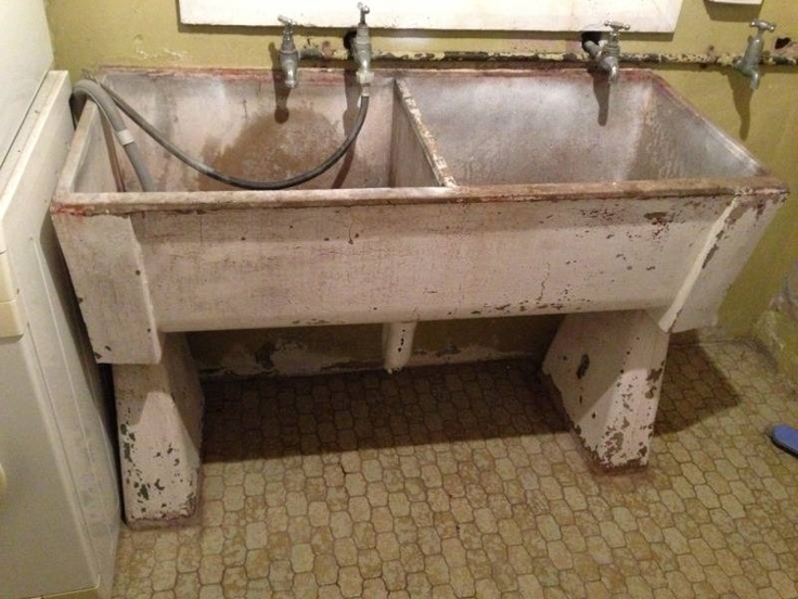 laundries had big concrete tubs where we soaked clothes before adding them to the copper.boiler. From the boiler things went back to the tubs to be rinsed, wrung out and then hung on the line..