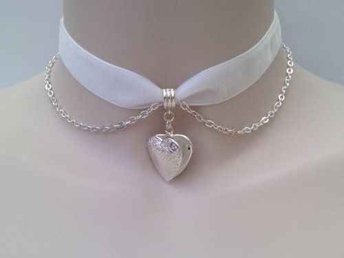 White Satin and Sterling Silver Chain Submissive Collar With Heart Pendant
