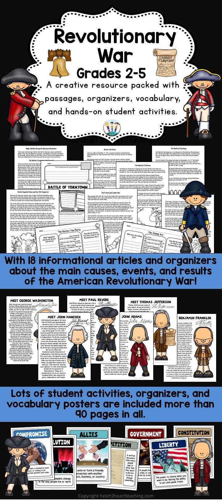 Students will love learning all about the American Revolutionary War with this creative and interactive resource that highlights causes, main events, important people, and results of the Revolutionary War all in one!