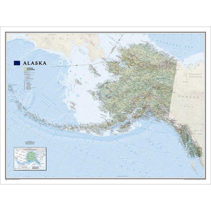 alaska wall map laminated national geographic store on laminated wall maps id=24522
