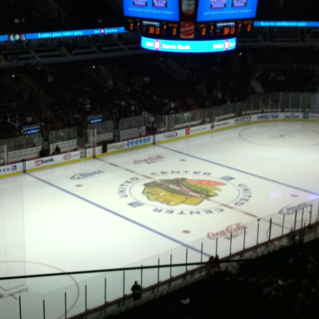 At the Black Hawks game tonight