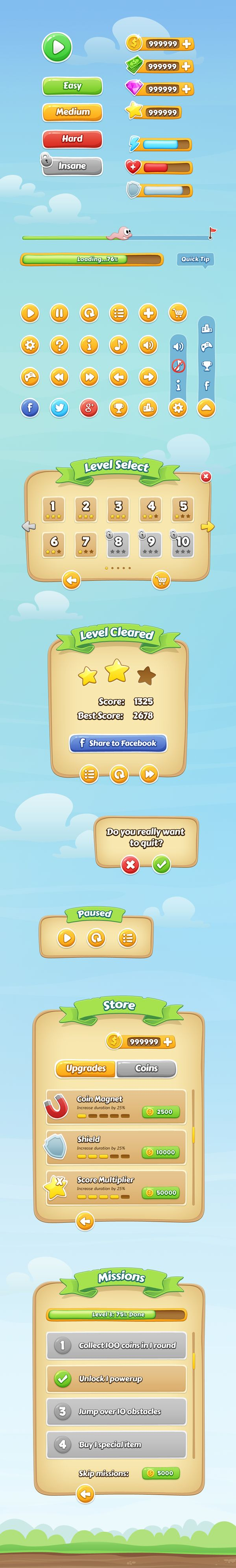 Mobile Game GUI on Behance
