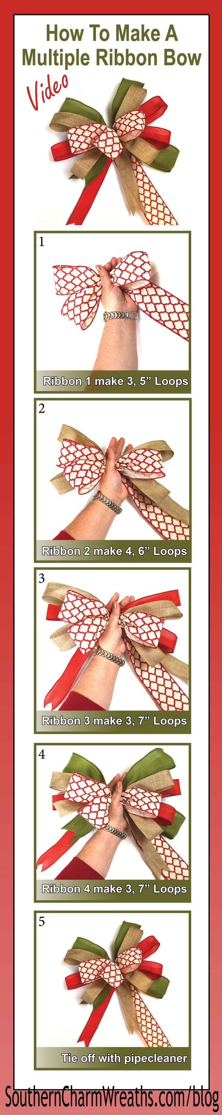 Click image for Video - How to make a bow using multiple ribbons. I like adding these to my Christmas wreaths, trees and garlands.
