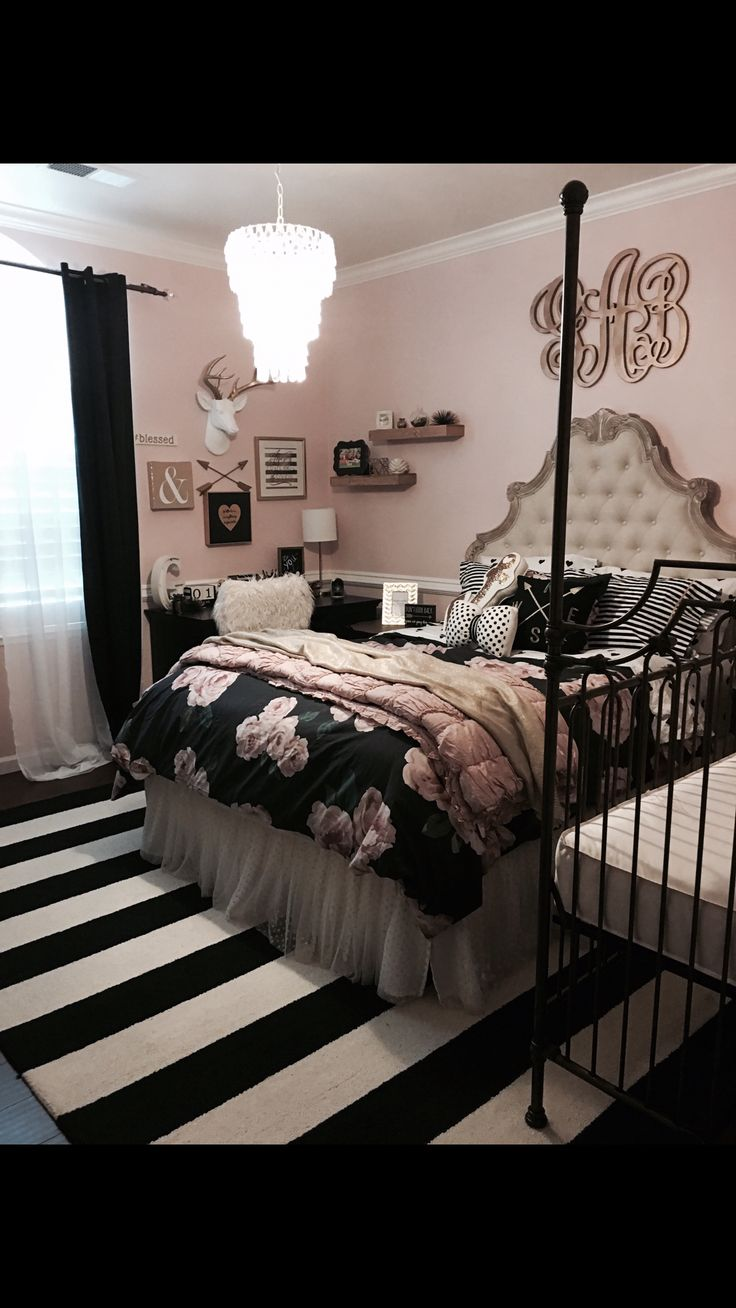 Tween teen girls bedroom decor pottery barn rustic blush black stripped rug monogram antlers collage shelves Bratt decor crib flowers pottery barn kids teen chandelier room bow glitter polka dot fabric headboard above bed decor gold Gracie's Room 2016