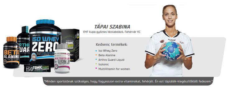 Tápai Szabina kézilabdázó is Biotech USA termékeket használ.
