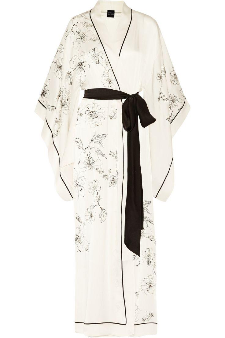 Carine Gilson|Aurelia printed silk-satin robe|NET-A-PORTER.COM