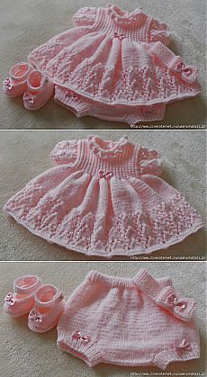 Baby Dress with matching soakers; lacy skirt ~~ вязание