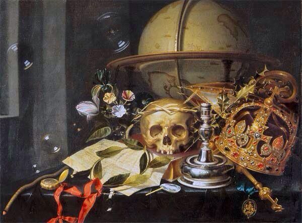 Een kandelaar, oude brieven en een schedel