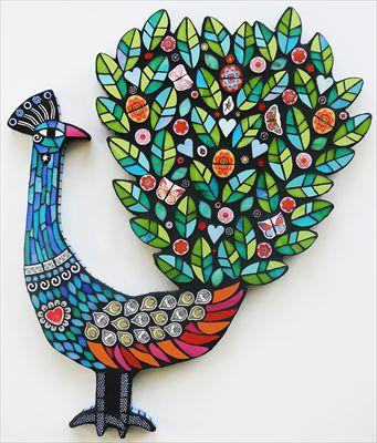 Peacock mosaic by Amanda Anderson