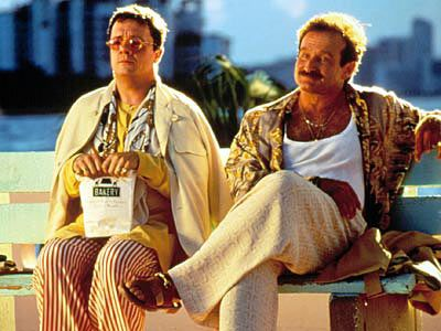 Nathan Lane and Robin Williams in The Bird Cage.  A rare Americanization of a great French comedy that actually works; largely due to the talented cast.