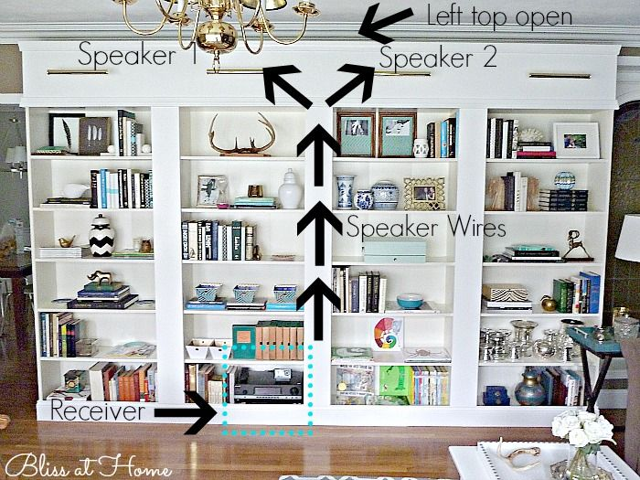 ikea billy bookcase library wall tips for installing hidden speakers in a wall of bookcases. Black Bedroom Furniture Sets. Home Design Ideas