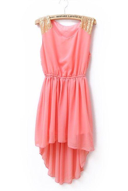 .: Coral Dress, Summer Dresses, High Low Dresses, Highlow, Colors, Sequins, Gold Accent, Chiffon Dresses, Pink Dress