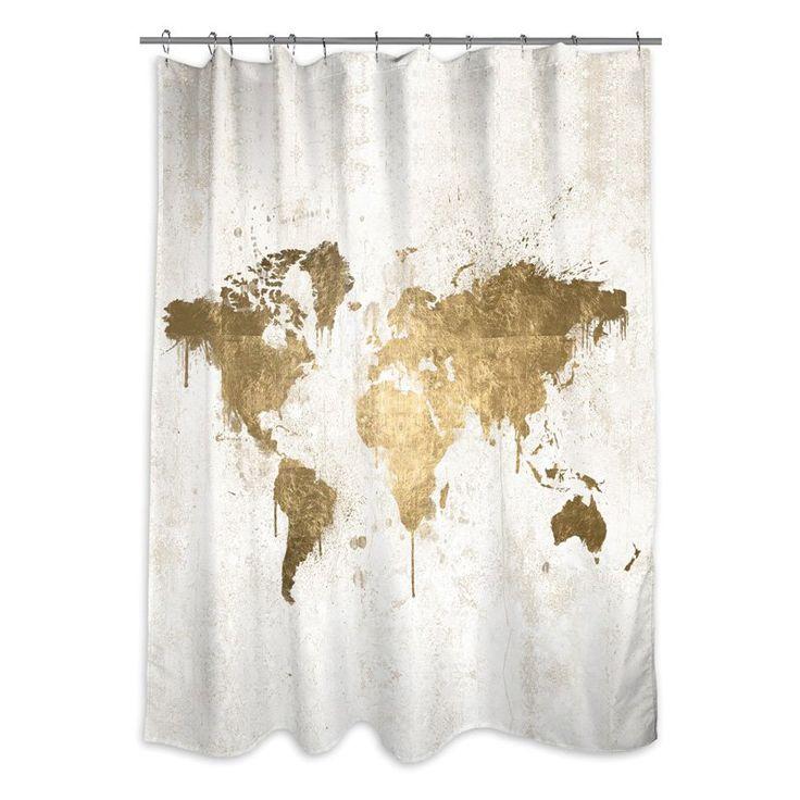 Oliver Gal Mapamundi White Gold Shower Curtain - 13135.SHOWER_OS_POL