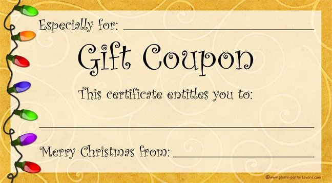 39 best images about Coupons – Printable Christmas Gift Certificate