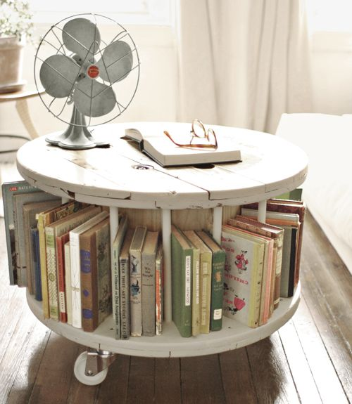 """""""From old cable spool to new library table"""".  I want to make one of these!!!"""