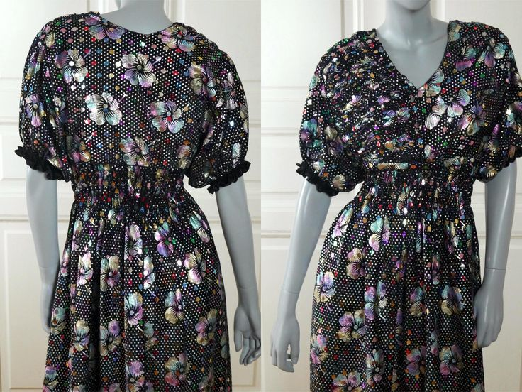 1980s Polka Dot Floral Dress, Italian Vintage Black Velvet w Silver Gold Pink Blue Lilac Confetti Dot Sequins Midi Dress: Size 10 US, 14 UK by YouLookAmazing on Etsy