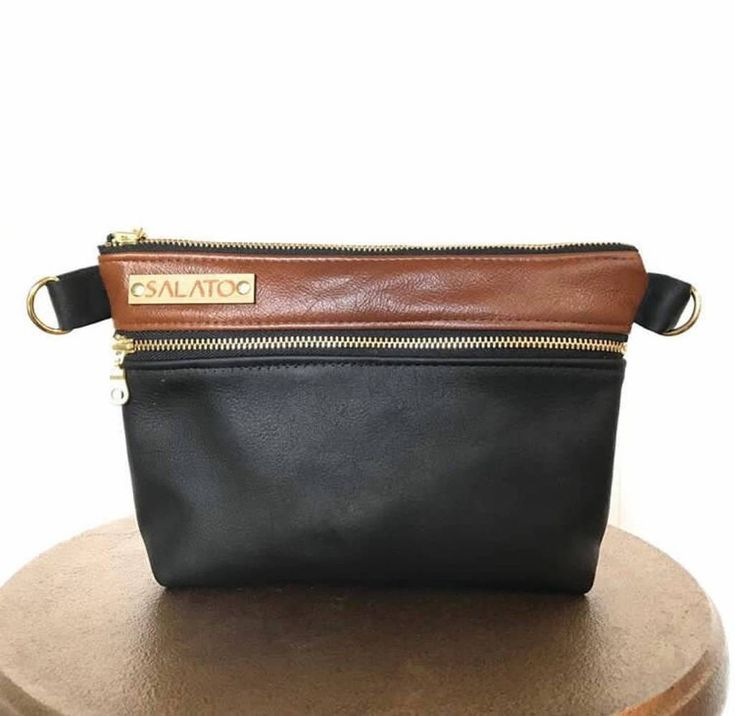 Black and Brown Leather Fanny Pack/Crossbody