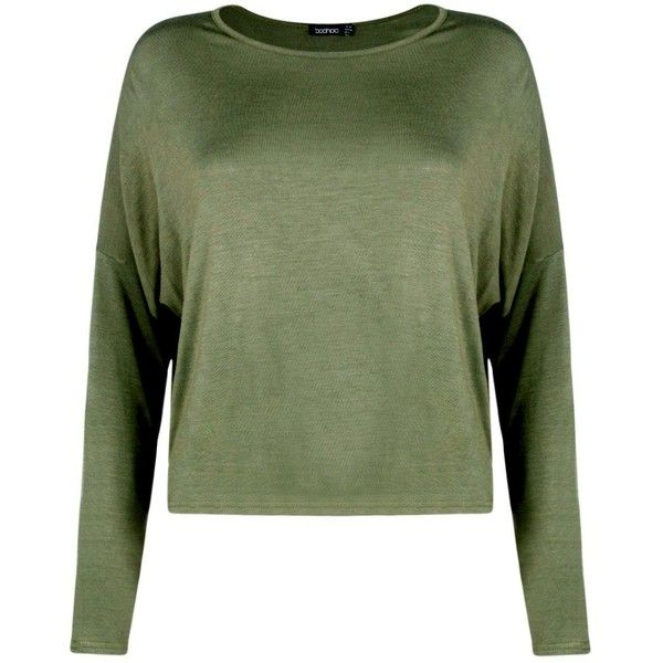 Boohoo Beth Basic Oversized Batwing Crop | Boohoo (£11) ❤ liked on Polyvore featuring tops, batwing tops, flat top, crop top, green top and cut-out crop tops