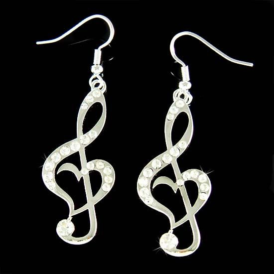 Swarovski Crystal TREBLE G CLEF Love Music Musical Note Love Heart Pendant Earrings Christmas Best Friend Gift New