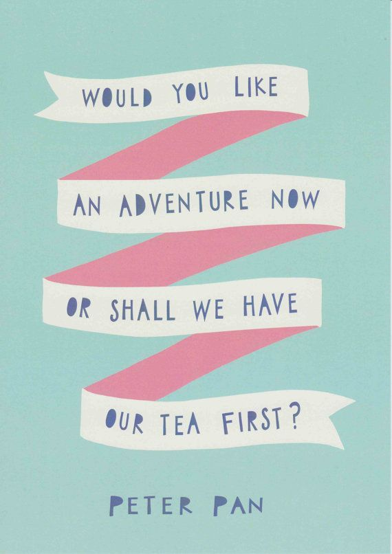 Peter Pan Quote Print Blue Pink Nursery Decor Adventure Quote Tea Quote Baby…