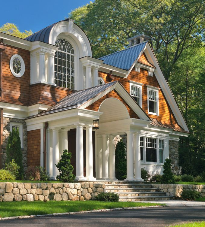 Contemporary Traditional Style Home · Exterior HomesExterior DesignStone ...