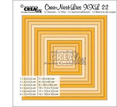 12 stansen Hoort bij de serie TUSSENIN; de maten van de stansen zitten precies tussen de maten van stansset XXL no. 08 in. Een extra detail is een subtiel stiksteekrandje. 1 = 2,5x2,5cm, 2 = 3,5x3,...