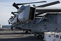 170114-M-EO036-047 ATLANTIC OCEAN (Jan. 14, 2017) MV-22 Ospreys attached to the 24th Marine Expeditionary Unit sit aboard the amphibious assault ship USS Bataan (LHD 5) during a composite training unit exercise. The exercise is the MEU's final at-sea evaluation designed for Marines and Sailors to increase operational efficiency for deployment. (U.S. Marine Corps photo by Cpl. Brianna Gaudi/Released)
