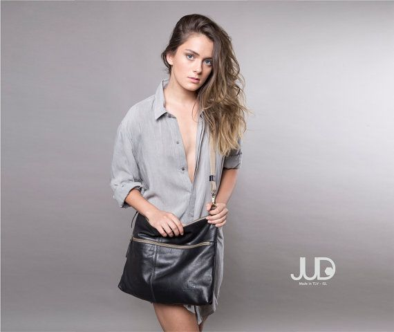 FREE SHIPPING Black leather bag  soft leather purse SALE by JUDtlv