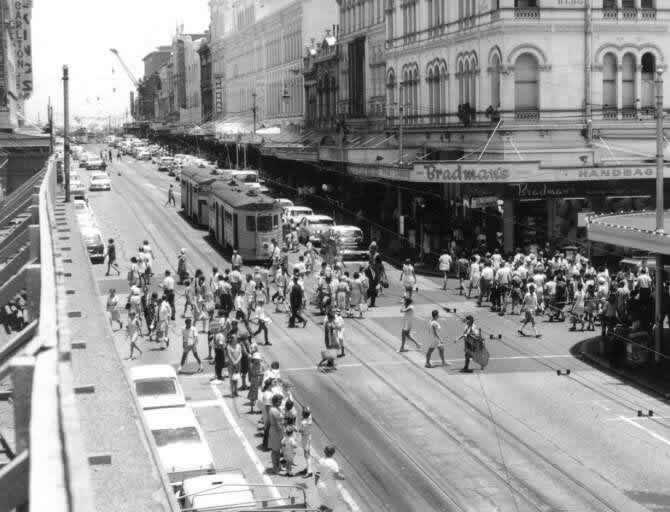 FM tram at the Queen and Albert Street corner Brisbane.
