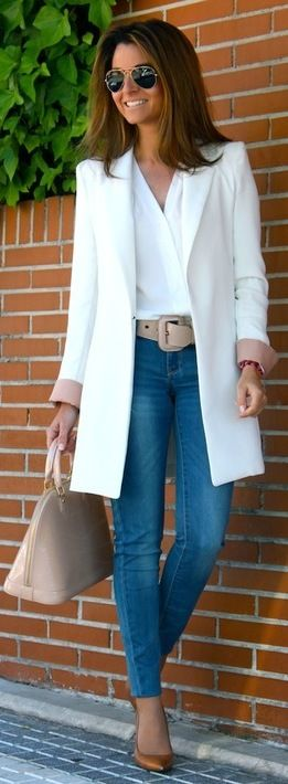 Fall / Winter - street chic style - party style - office wear - work outfit - white long blazer or coat + nude wide belt + skinnies + brown stilettos + nude handbag + white v-neck blouse + aviators