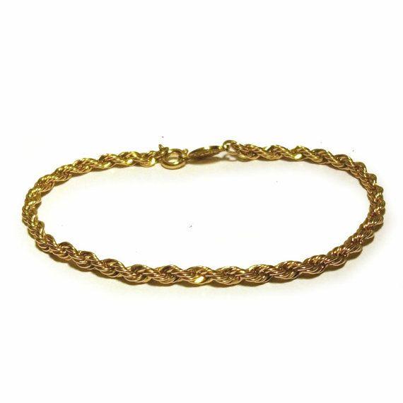 Vintage Napier Bracelet Gold Rope Chain Twisted 1980s Signed