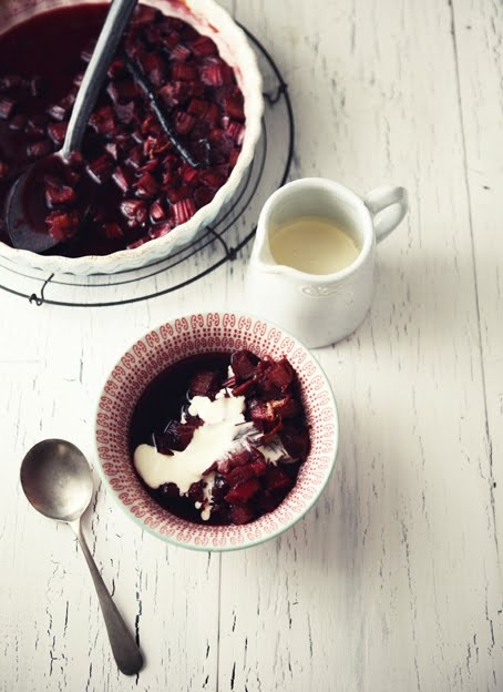 Wine stewed rhubarb and vanilla ice cream