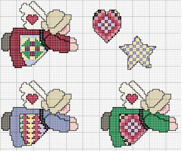 Schema punto croce Ornamenti-angeli