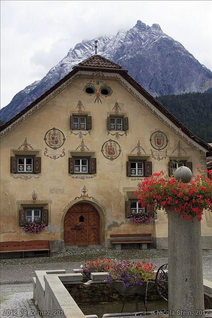 Lovely Swiss Village of Scuols in Graubünden, Switzerland