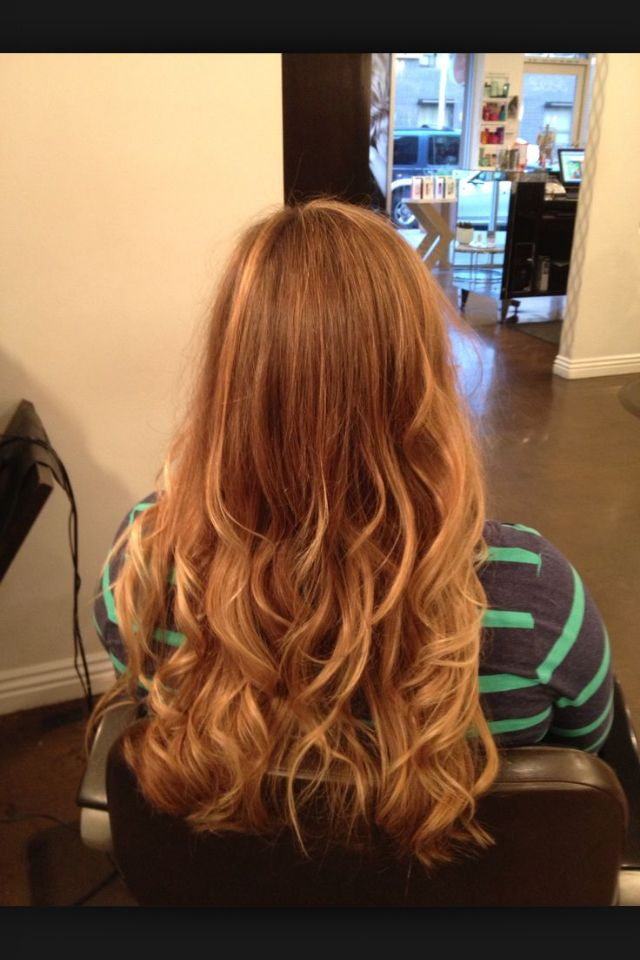 Red with blond balayage