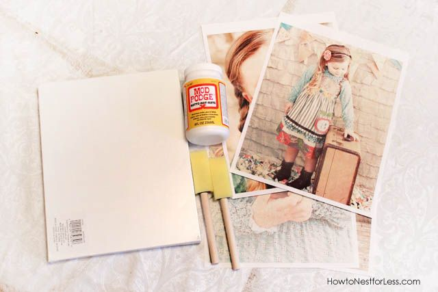 Tutorial: Mod Podge Canvas Prints. Turn  photo prints from your home printer into a work of art using mod podge, a canvas and prints of your favorite photos.