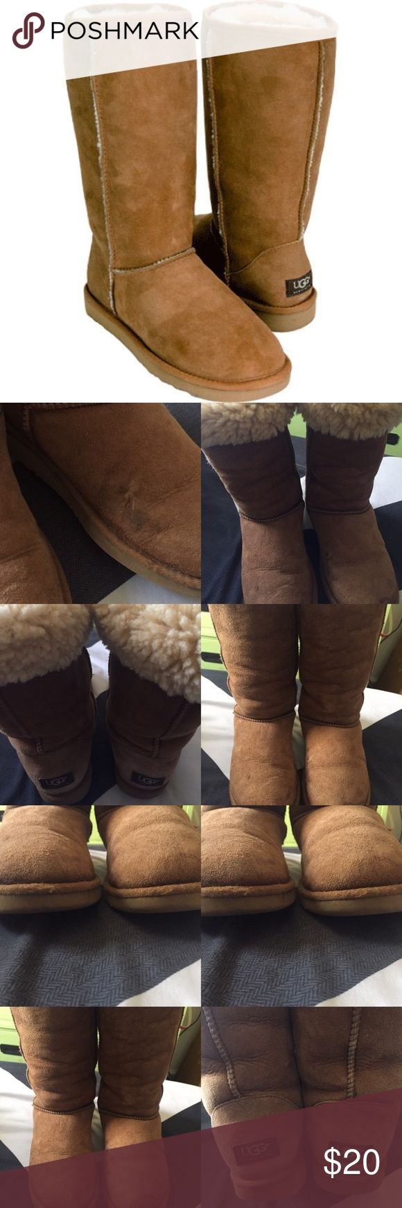 Authentic Uggs! Classic Tall Chestnut Authentic Uggs! Ugg Australia. Genuine sheepskin lining. These have been worn, price reflects, but still a lot of life left. I've had these for years. The bottom sole is the older version and these were purchased before they added the hologram. I do not have the box. More pictures upon request! 💕 These are well loved uggs. Pretty worn out inside. UGG Shoes