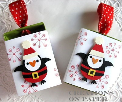 Creations on Paper: Penguin Owl Punch Art- Matchbox - I could see using this for a gift card holder as well. If you don't have the punch any christmas or winter theme die cut would work also.
