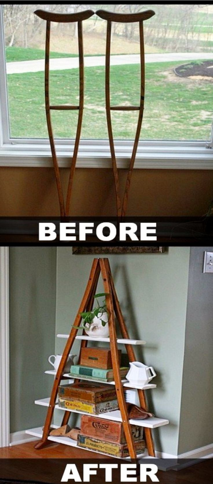 Upcycled Home Decor Ideas • Turn Old Crutches Into Shelves