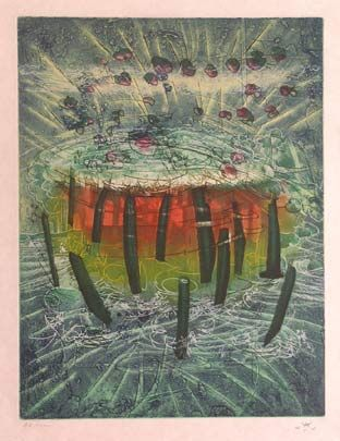 "Matta""Hom'mère III. L'Ergonaute: ""Il explose"""", 1977. Aguafuerte y aguatinta sobre Cobre de  49,5 x 37,5 cm., Papel Japón nacarado (suit) de 250 gr. de medidas 67 x 51,5 cm. Ej.:  100 + XXV HC (Arches) / suite 100 + 10 EA + XXV HC (Japón nacarado) #art  #etching"
