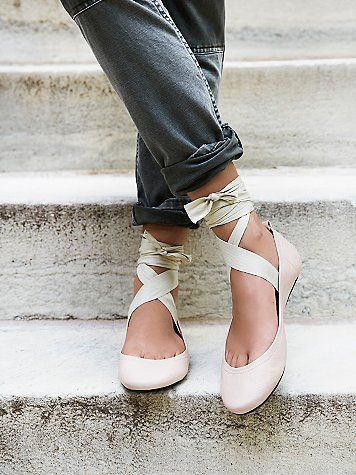 Degas Ballet Flat | Ballet-inspired leather flats featuring a soft rounded toe and statement wrap tie with an adjustable fit, tie anyway you want! Padded footbed for a comfortable fit.