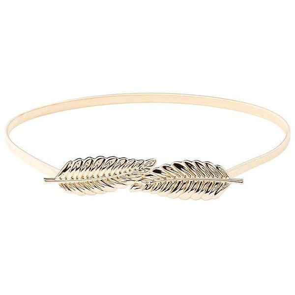 Charlotte Russe Metal Coiled Leaf Belt ($9.99) ❤ liked on Polyvore featuring accessories, belts, gold, metal belt, stretch belt, charlotte russe, hook belt and metal stretch belt