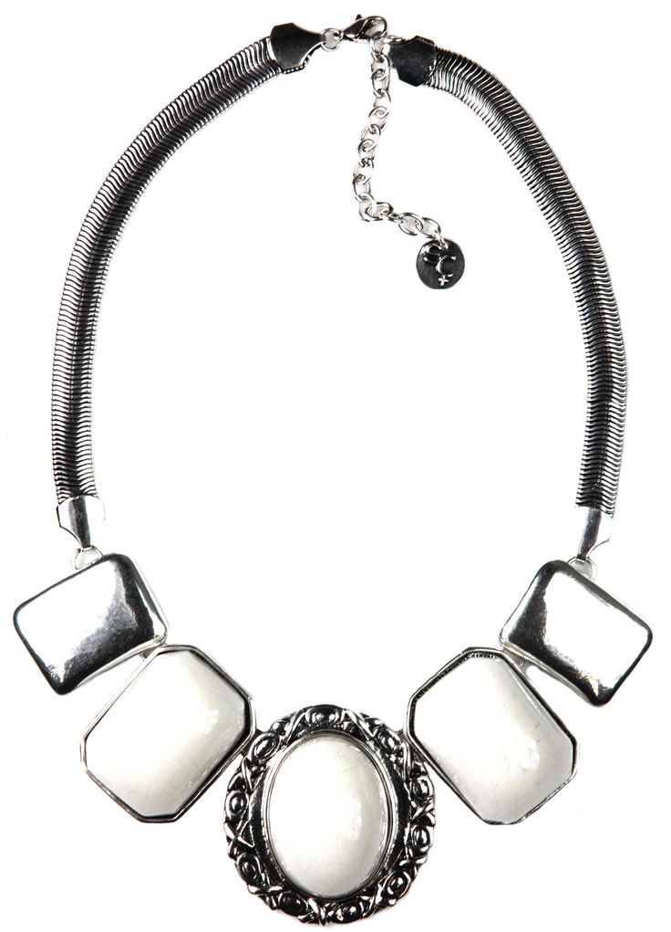 Sistaco's Insatiable White and Silver Embossed Necklace.  This pretty necklace is wearable with any outfit. White stones will match just about everything! Complete your look with a white stoned bracelet and look very chic. Also comes in turquoise. http://www.byariane.com.au/Sistaco-Insatiable