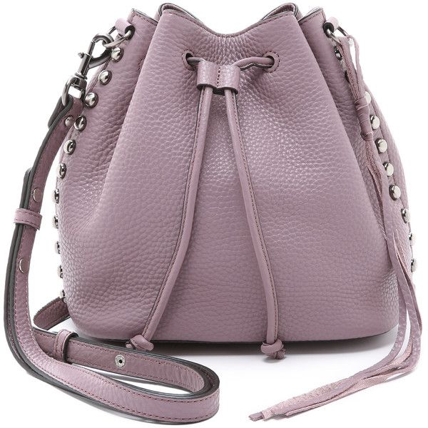 Rebecca Minkoff Unlined Bucket Bag (£215) ❤ liked on Polyvore featuring bags, handbags, shoulder bags, bolsas, mauve, leather handbags, leather shoulder handbags, studded purse, purple purse and studded shoulder bag