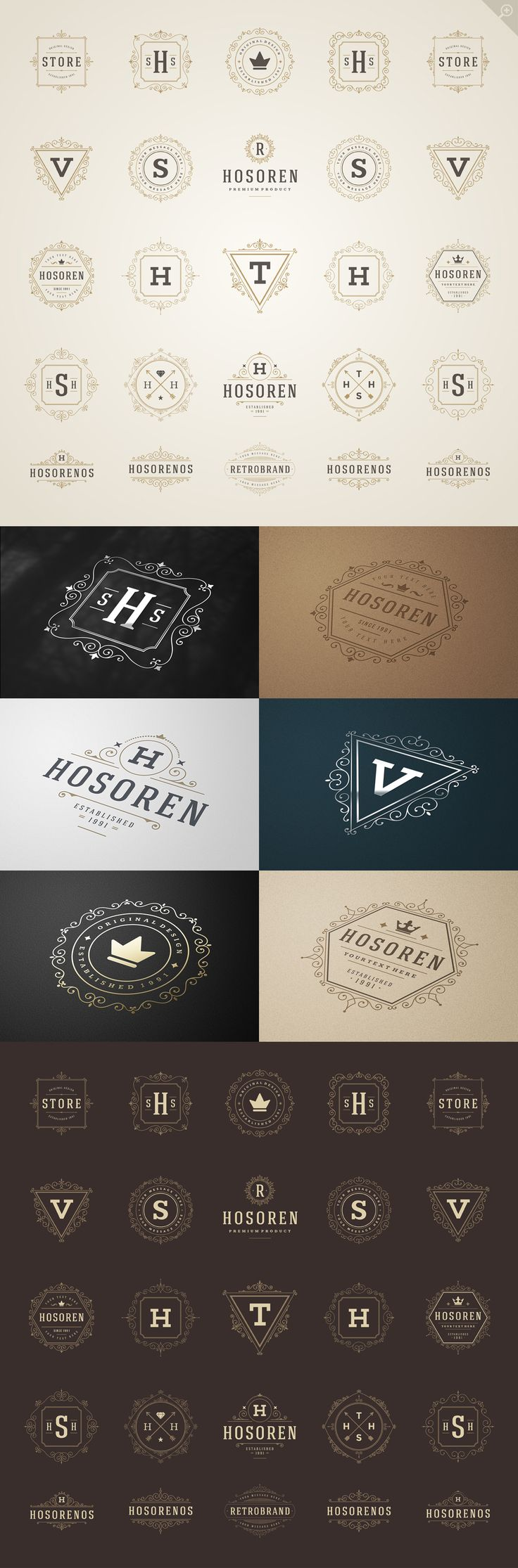 50 luxury ornaments logos & monograms, vintage and elegant for your next branding project