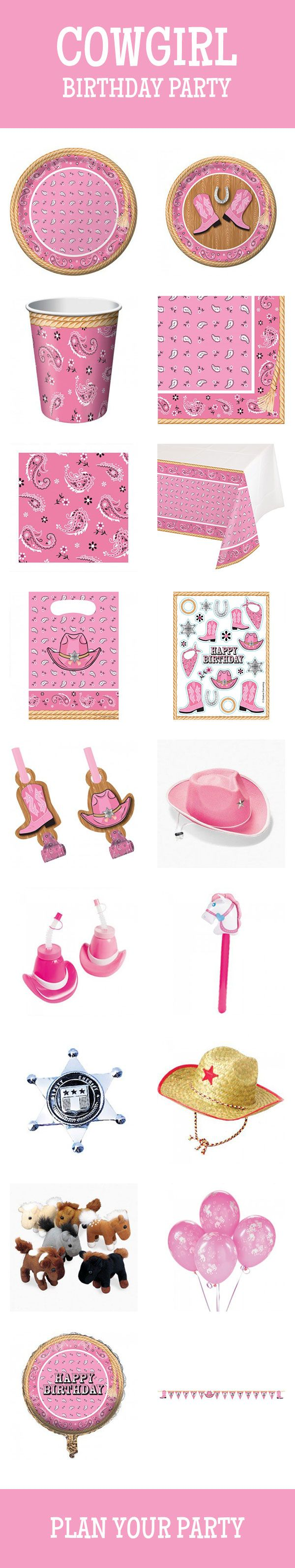 Get them pink boots ready, it's time to have a cowgirl party! We have a full line, which includes tableware, decorations, party favors, and more. Check them out here: http://www.discountpartysupplies.com/girl-party-supplies/cowgirl-party-supplies?utm_source=Pinterest&utm_medium=Social&utm_content=cowgirl_party_supplies&utm_campaign=cowgirl_party_Promoted_Pin