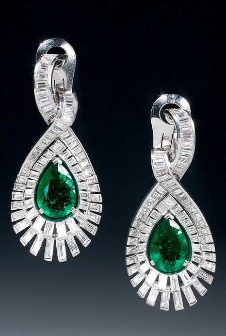 Art Deco Columbian emerald and diamond earrings. Paris, circa 1937.