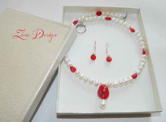 Necklace and earrings pearls and coral by ZenaDesign on Etsy